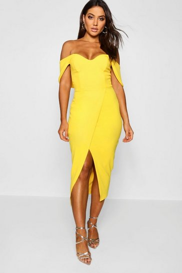 Womens Yellow Off the Shoulder Wrap Skirt Midi Dress