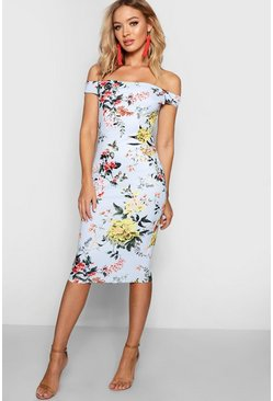 Womens Sky Floral Off the Shoulder Midi Dress