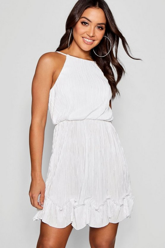 Womens Ivory Pleated Detail Skater Dress