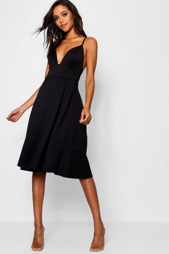 Black Scuba Frill Skirt Midi Skater Dress