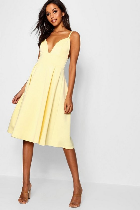 Scuba Frill Skirt Midi Skater Dress