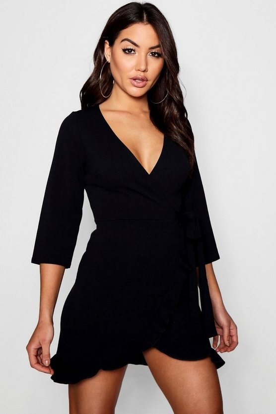 Formal Tie Wrap Frill Detail Skater Dress