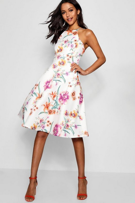 Womens White Floral Strappy Midi Skater Dress