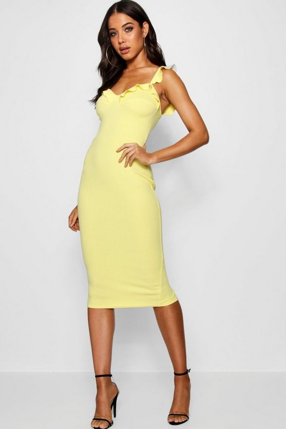 Womens Lemon Frill Bustier Fitted Midi Dress