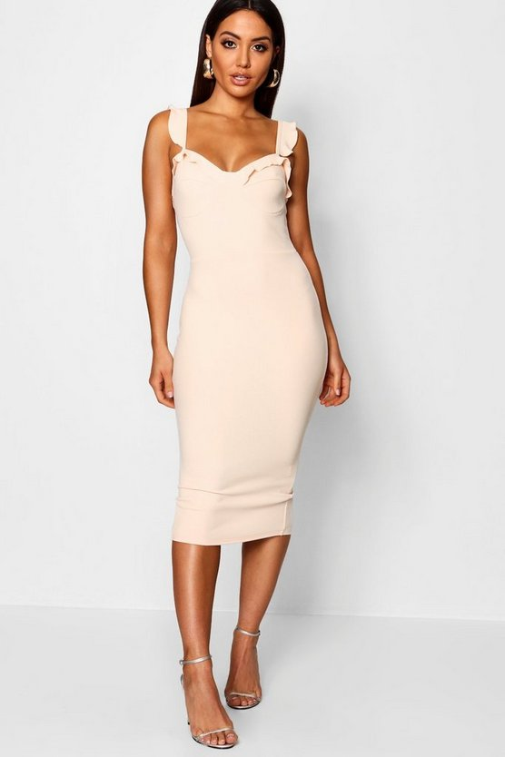 Womens Nude Frill Bustier Fitted Midi Dress