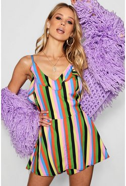 Womens Pink Rainbow Stripe Playsuit