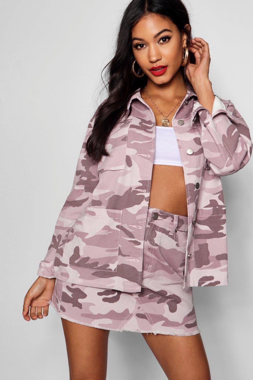 rosa estilo camuflado denim desteñido palo en Camisa chaqueta Fía ZqwvRw0n