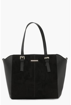 Womens Black Double Buckle Mixed Texture Tote Bag