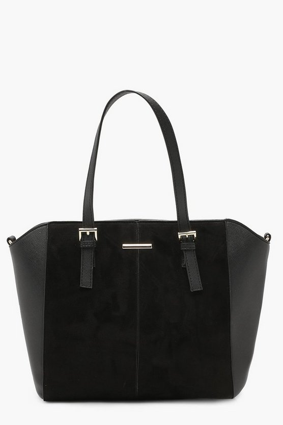 Double Buckle Mixed Texture Tote Bag