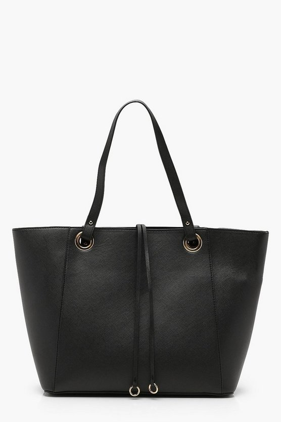 Womens Black Structured Crosshatch Tote