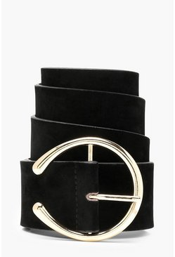Womens Black Suedette Circle Eyelet Boyfriend Belt