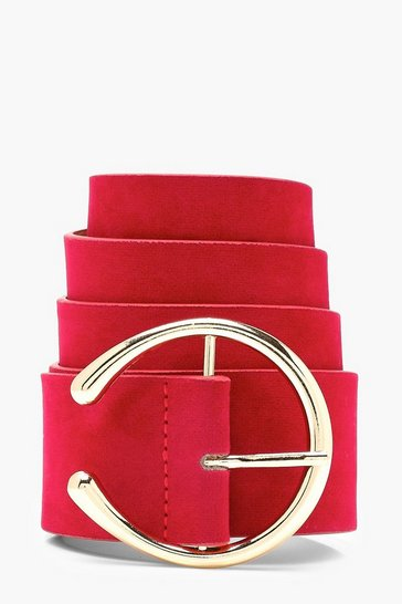 Womens Red Suedette Circle Eyelet Boyfriend Belt