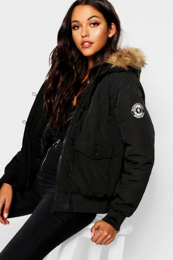 Short Hooded Padded Jacket With Faux Fur Trim