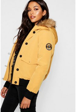 Womens Mustard Short Hooded Padded Jacket With Faux Fur Trim