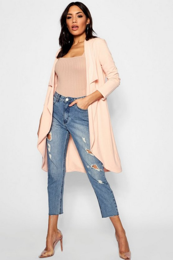 Notch Detail Longline Duster Jacket