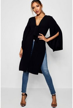 Womens Black Tie Front Split Duster Jacket