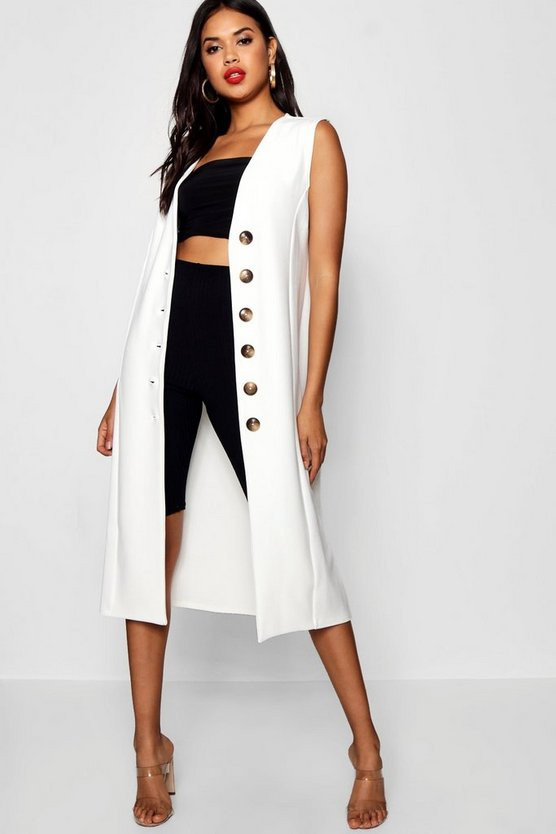 Button Detail Longline Duster