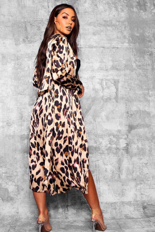 leopardo estampado gris cuello satén de Guardapolvo con piedra de SnwICp0Yq