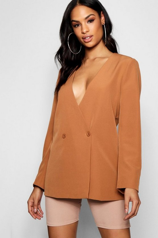 Collarless Double Breasted Duster Jacket