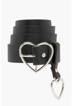 Black Heart Buckle and Charm Detail Belt