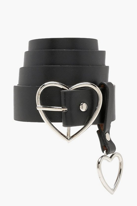 Womens Black Heart Buckle and Charm Detail Belt