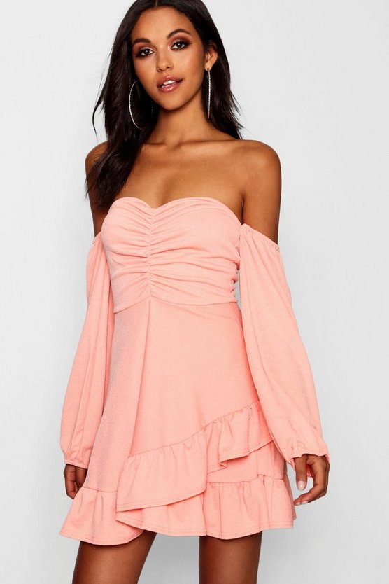 Womens Coral blush Ruched Volume Sleeve Skater Dress