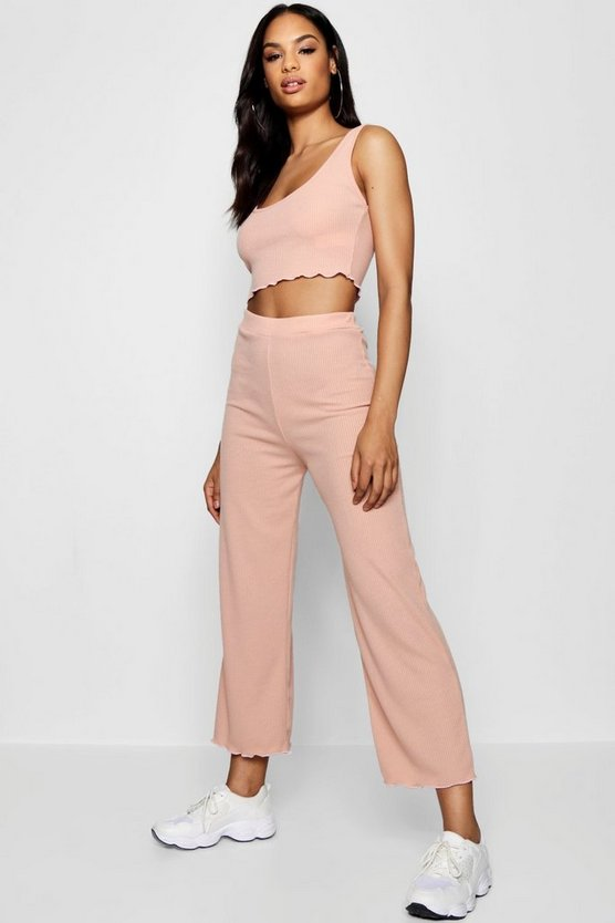 Blush Ribbed Lettuce Hem Top Pants Co-Ord Set