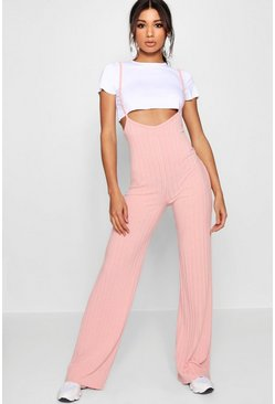 Blush Crop T-Shirt Strappy Jumpsuit Co-ord Set