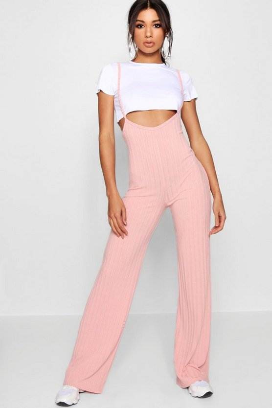 Womens Blush Crop T-Shirt Strappy Jumpsuit Co-ord Set