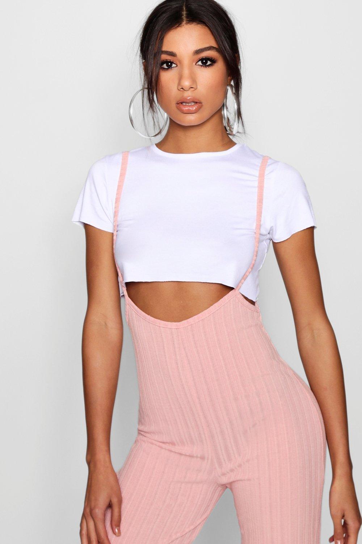 de y Conjunto camiseta rosa corta con mono largo pálido tirantes UwwdZqX