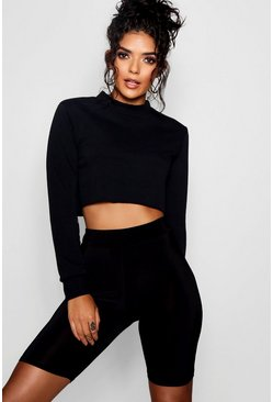 Black Crop Sweatshirt Cycle Short Co-ord Set
