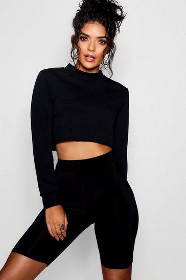 Womens Black Crop Sweatshirt Cycle Short Co-ord Set