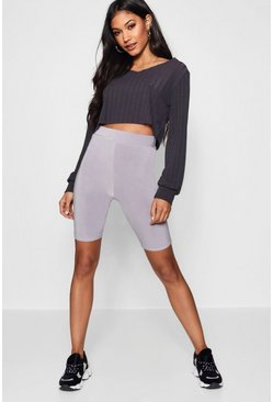 Crop Top Slinky Cycling Short Co-ord Set, Charcoal, FEMMES