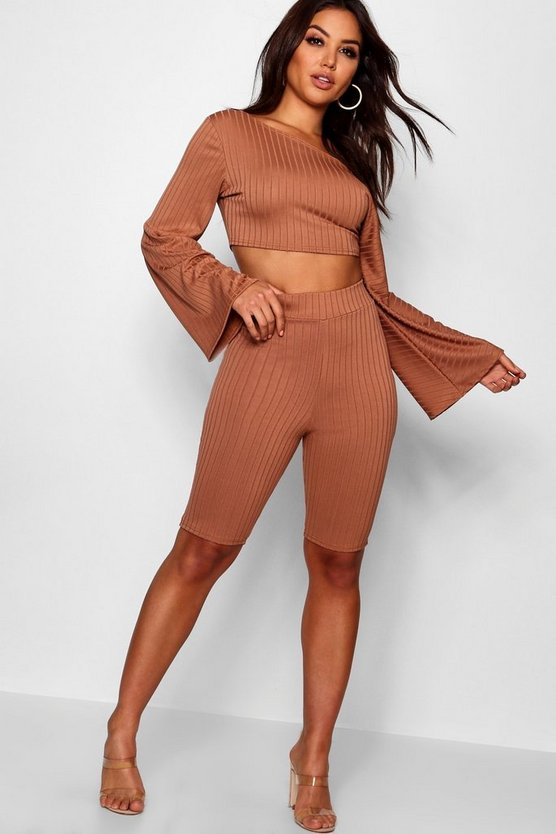 Caramel Off The Shoulder Cycling Short Co-ord Set