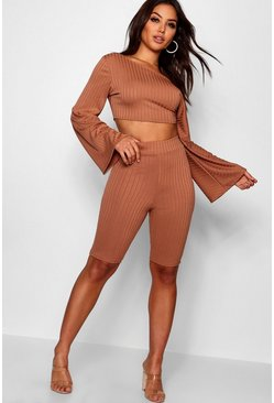 Womens Caramel Off The Shoulder Cycling Short Co-ord Set