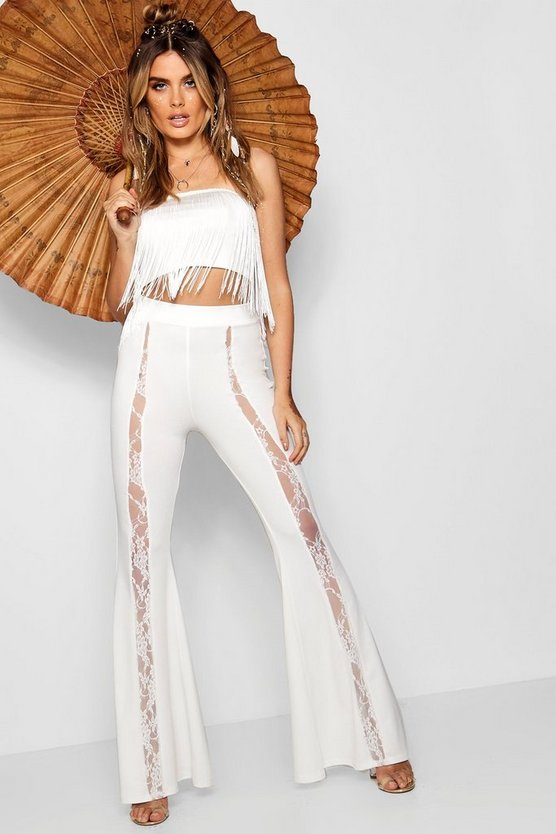 Lace Insert Crepe Skinny Flare