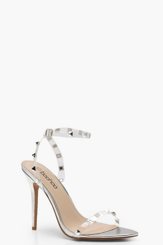 Womens Silver Clear Studded Strap Barely There Heels