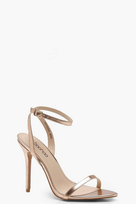 Womens Rose gold Pointed Toe Barely There Heels