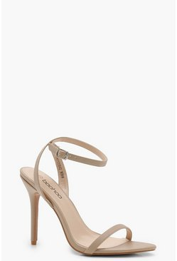 Pointed Toe Barely There Heels, Nude, Donna