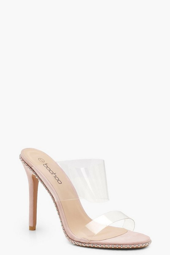 Womens Stud Trim Clear Strap Mules