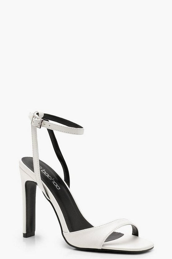 Womens White Slim Block Barely There Heels