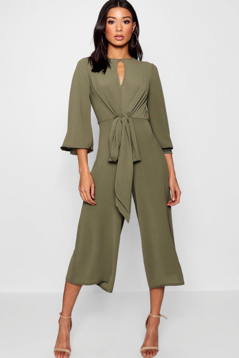 2e0d9254d933 Tie Front Culotte Leg Jumpsuit
