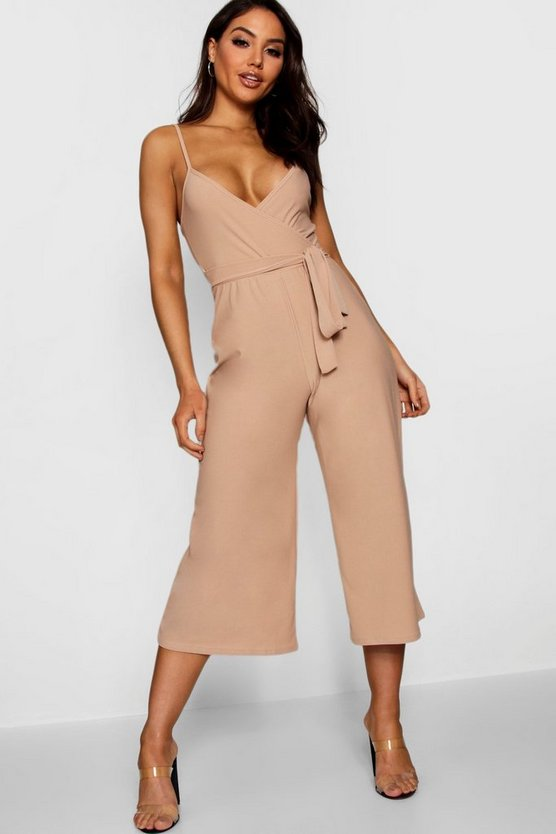 Womens Camel Basic Cami Style Wrap Jumpsuit
