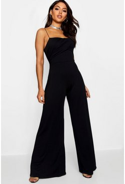 Womens Black Square Neck Wide Leg Jumpsuit