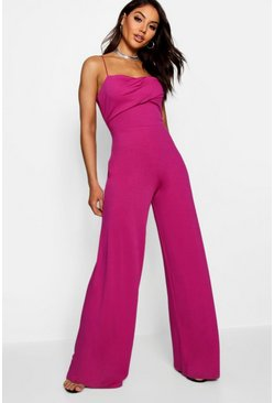 Womens Cerise Square Neck Wide Leg Jumpsuit