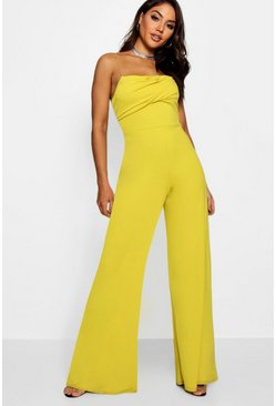 Womens Chartreuse Square Neck Wide Leg Jumpsuit