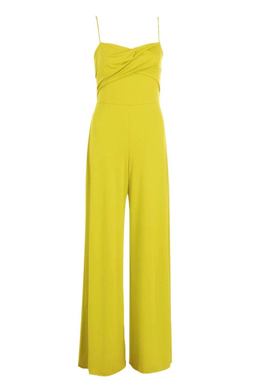 Leg chartreuse Jumpsuit Wide Neck Square w1aUHH