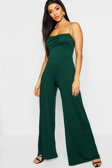 Womens Forest Square Neck Wide Leg Jumpsuit