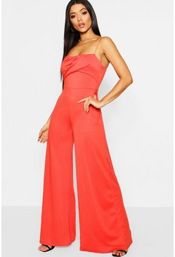 Orange Square Neck Wide Leg Jumpsuit