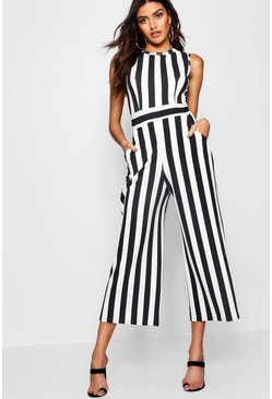 Womens Black Stripe High Neck Jumpsuit